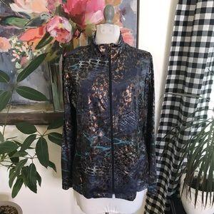 Susan Graver foil print zip up jacket 4H